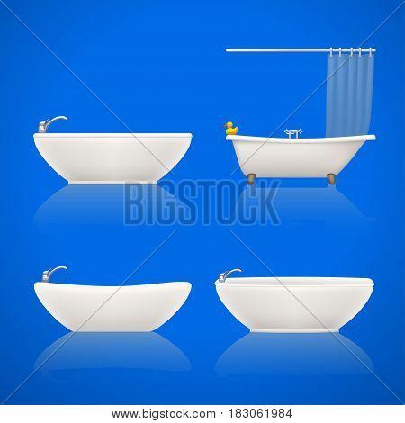 illustration of set white bathtubes with shadows on bright background