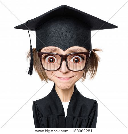 Cartoon style character with big head - portrait of a sad or surprised graduate girl student in mantle with black hat and eyeglasses, isolated on white background