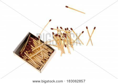 Matches with box spilling on white background