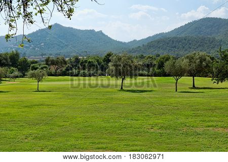 Golf course on the background of the mountains