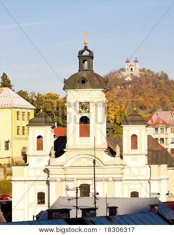 Church of St. Mary and Calvary at background, Banska Stiavnica, Slovakia