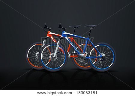 illustration of two mountain bicycles with shadows and reflection of dark background