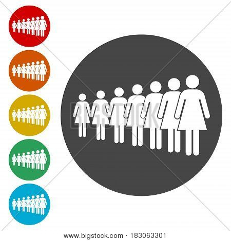 Women are standing, simple vector icon on white background