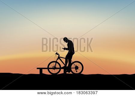 illustration of male silhouette cyclist resting and holding a phone at sunset
