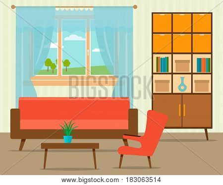 Living room interior design in flat style including furniture cabinet sofa table with armchair and window. Flat vector illustration.