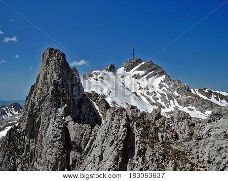 Alpstein, Switzerland, 2014.06.08: The Lisengrat (Lisen Ridge) from Rotsteinpass (Red Stone Pass) to Mount Säntis.