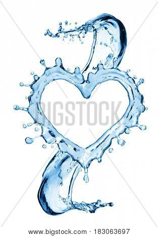 Water splash in the form of a heart. Isolated on white background. 3d rendering