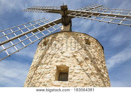 windmill in Belmonte, province of Cuenca, Castilla La Mancha, Spain
