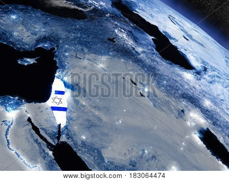 Israel With Embedded Flag From Space