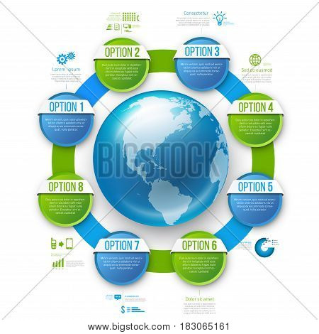 Infographics ring round style chart menu with 8 round options and globe, blue and green design, vector template