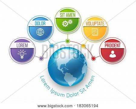Infographics flower style chart menu with 5 round options and globe in center, colorful bright design, vector template