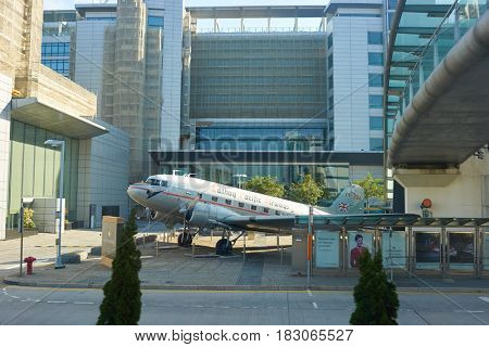 HONG KONG - CIRCA NOVEMBER, 2016: DC-3 painted to imitate the appearance of the carrier's second aircraft, outside Cathay City.