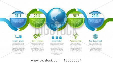 Infographics with 5 steps years or options with globe in center, blue green calm corporate design, vector template