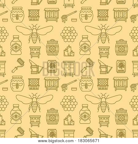Beekeeping seamless pattern yellow color, apiculture vector illustration. Apiary thin line icons - bee, beehives, honeycombs, barrel, equipment. Cute repeated texture for honey processing business.