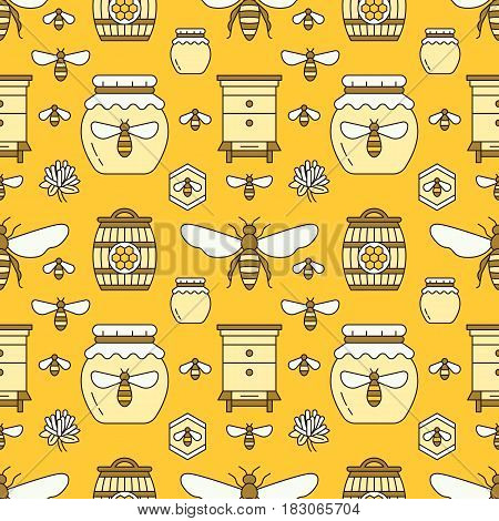 Beekeeping seamless pattern yellow color, apiculture vector illustration. Apiary thin line icons - bee, beehives, barrel. Cute repeated texture for honey processing business.