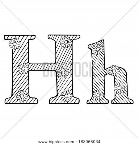 Letter H Doodle Flourish graphic with ornate pattern. Design Isolated on white.