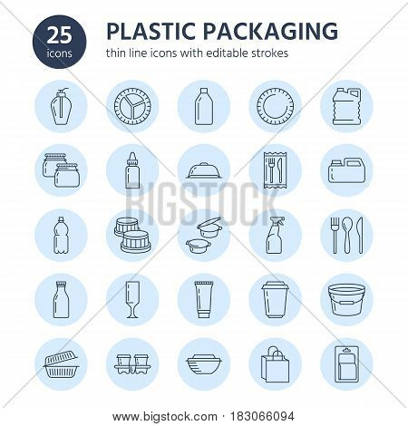 Plastic packaging, disposable tableware line icons. Product container, bottle, packet, canister, plate and cutlery. Packs thin linear signs in blue circle for shop, synthetic material good production.