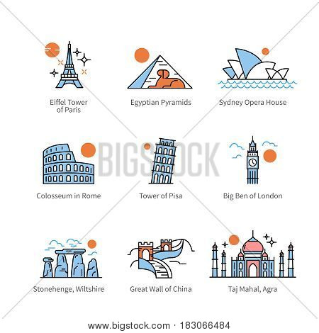 City travel landmarks, tourist attraction in various countries of Europe, Asia, Africa. Thin line art icons with flat colorful design elements. Modern linear style illustrations isolated on white.