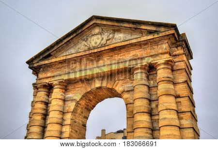 Porte d'Aquitaine, a XVIII century gate in Bordeaux - France