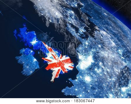 United Kingdom With Embedded Flag From Space