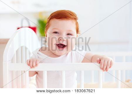 Cute Happy Infant Baby Standing In A Cot At Home