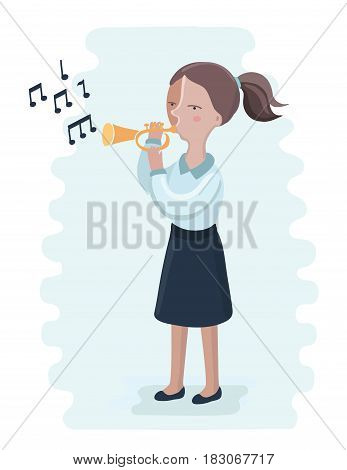 Vector cartoon illusration of trumpet performance by the high school girl. Play on brass