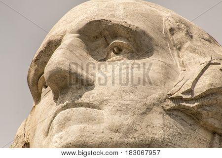 A close-up look at George Washington on Mount Rushmore in South Dakota, USA.