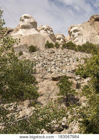 Looking up at Mount Rushmore in South Dakota, USA.