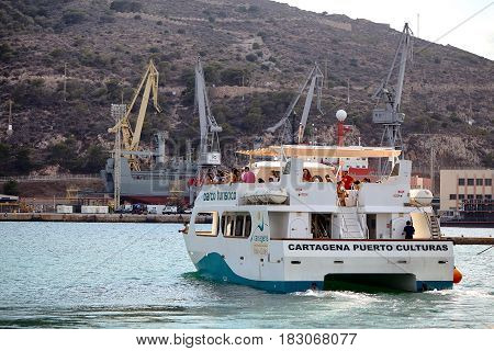 Cartagena, Spain - July 13, 2016: Excursion in a tourist boat along the Mediterranean Sea in the vicinity of Cartagena