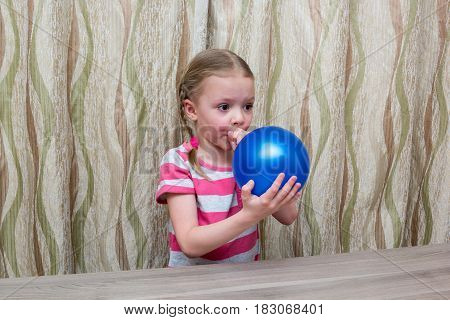 Girl Spends Physical Experience With Balloon And Glasses