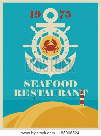vector banner for a seafood restaurant with an anchor ship steering wheel and crab with sea view and a lighthouse