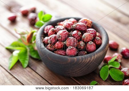 Dog rose or rosehip berries with leaves dried briar