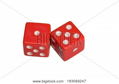 Two dice showing one and five, on white background.