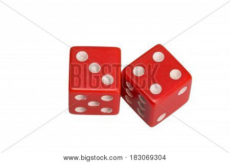 Two dice showing three and four, on white background.