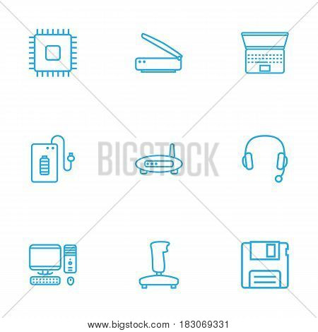 Set Of 9 Notebook Outline Icons Set.Collection Of Powerbank, Cpu, Scanner And Other Elements.