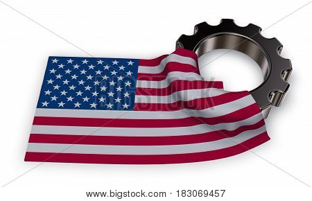 gear wheel and flag of the usa - 3d rendering