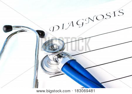 Attributes of the doctor's work are a phonendoscope (stethoscope) a form with the inscription