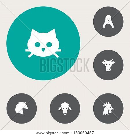 Set Of 6 Alive Icons Set.Collection Of Lamb, Rooster, Steed And Other Elements.