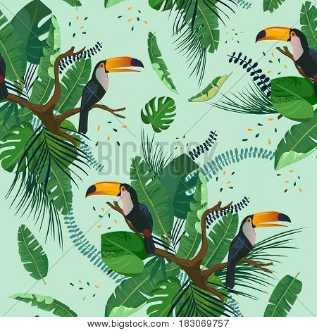 Tropical palm leaves, toucan birds on brunch. jungle leaves seamless vector floral pattern background.