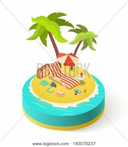 Summer isometric island vacation with Holidays accessories