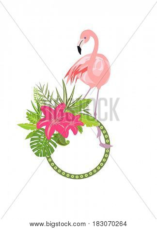 Summery frame with exotic leaves, lily and pink flamingo