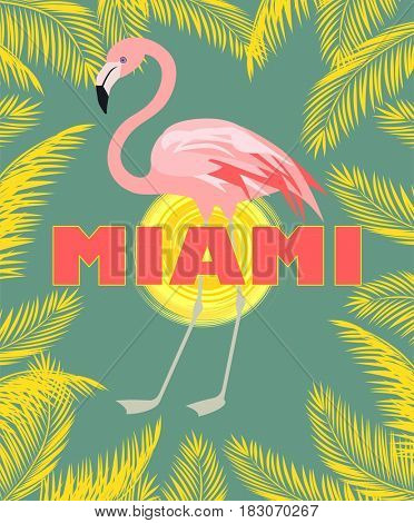 T-shirt print with Miami lettering, palm leaves, sun and pink flamingo Art deco style