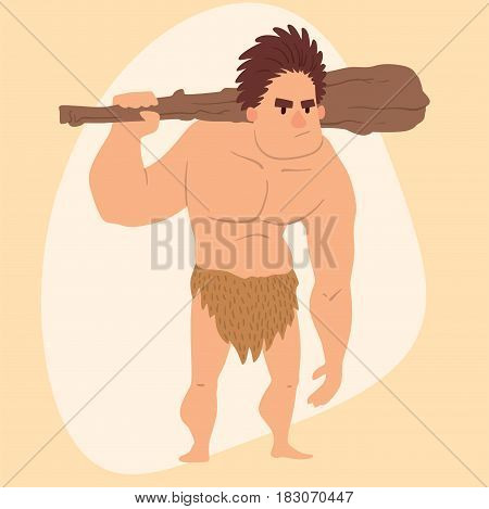 Caveman primitive stone age cartoon man neanderthal human action character evolution vector illustration. prehistoric muscular warrior anthropology homo evolution family.