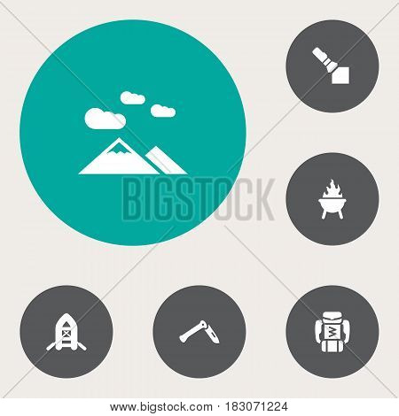 Set Of 6 Camping Icons Set.Collection Of Landscape , Inflatable Raft, Flashlight Elements.