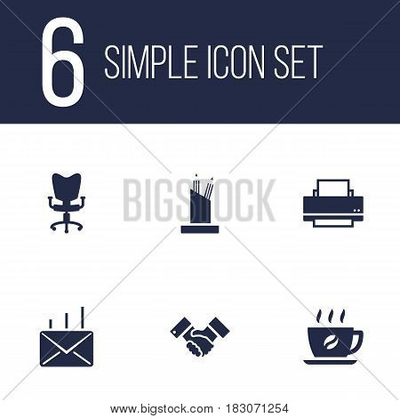 Set Of 6 Service Icons Set.Collection Of Printer, Office Chair, Coffee And Other Elements.