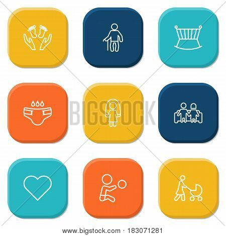 Set Of 9 People Outline Icons Set.Collection Of Boy, Stroller, Couple And Other Elements.
