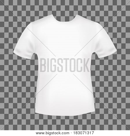 White round neck t-shirt template. Blank front view t shirt mockup design. Vector illustration.