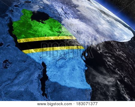 Tanzania With Embedded Flag From Space