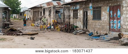 Zanzibar, Tanzania - July 14, 2016: Trash and garbage everywhere in Zanzibar, Tanzania, shacks and poverty among people