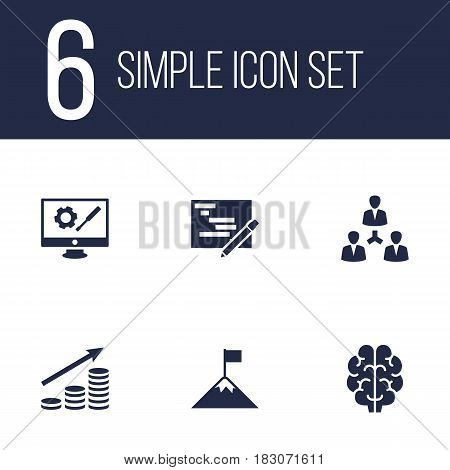 Set Of 6 Business Icons Set.Collection Of Achievement, Writing, Intelligence And Other Elements.